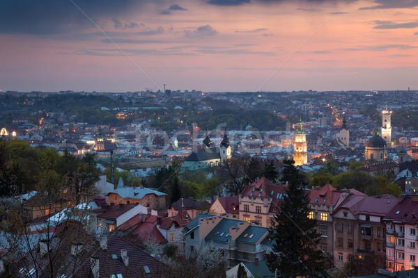 Panoramic Aerial view of old town at sundown. Lviv, Ukraine Stock photo © Taiga