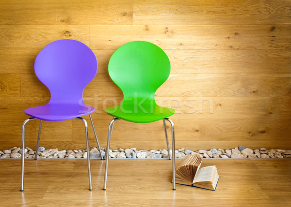 Green and Purple Chairs and opened Book / modern interior Stock photo © Taiga