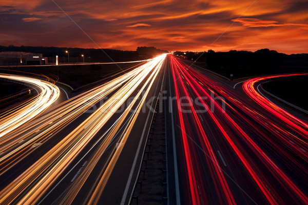 Speed Traffic - light trails on motorway highway at night Stock photo © Taiga