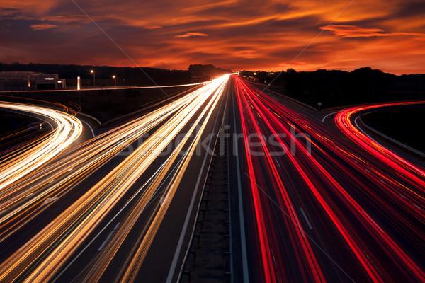 Vitesse trafic lumière autoroute autoroute nuit Photo stock © Taiga