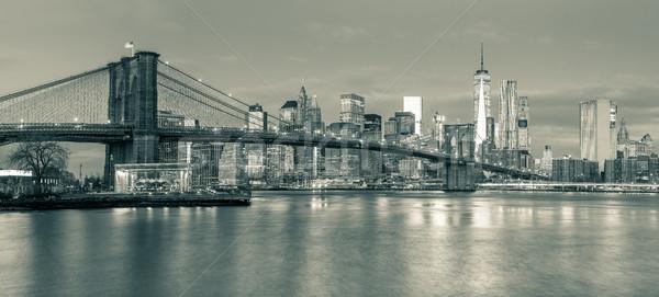 Stock photo: Panoramic view of  Brooklyn Bridge and Manhattan in New York Cit