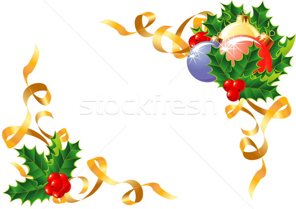 Christmas decoration/ Holly, balls and ribbon / vector  Stock photo © Taiga