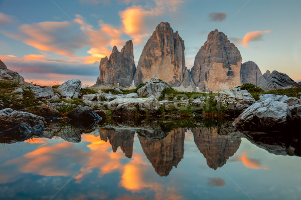 Tre Cime di Lavaredo at beautiful sunrise, Italy, Europe Stock photo © Taiga
