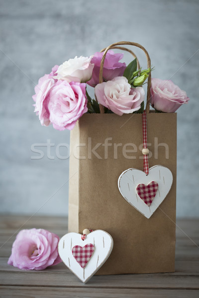 Romantic Gift with Roses and Hearts Stock photo © Taiga