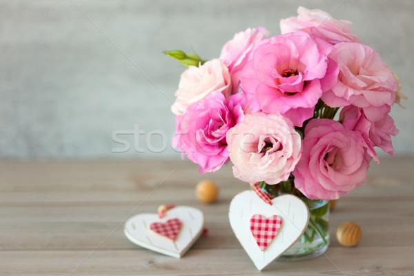 Two Handmade Valentine's Hearts and beautiful flowers Stock photo © Taiga