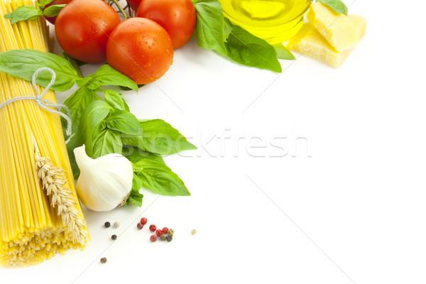 Photo stock: Ingrédients · italien · cuisson · cadre · isolé · blanche