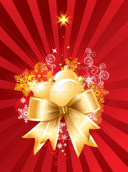 Christmas background with decorations and bow / vector Stock photo © Taiga