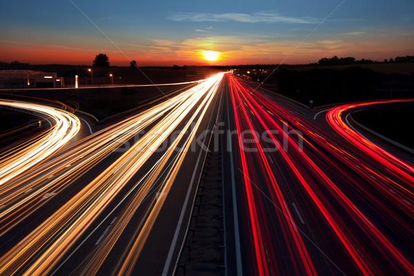 Speed Traffic  long exposure on  highway at sundown time Stock photo © Taiga