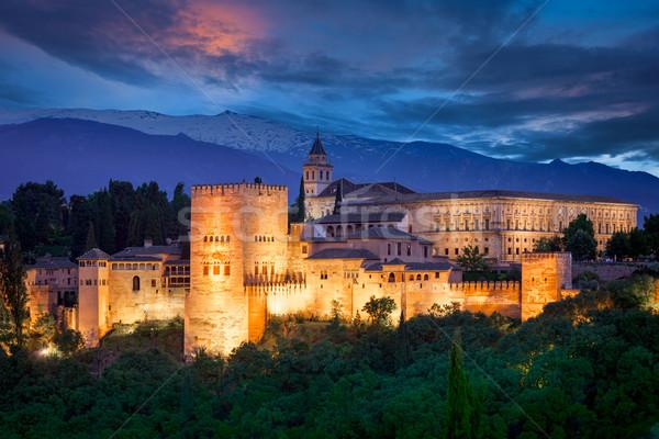 Night View of Famous Alhambra, European travel landmark Stock photo © Taiga