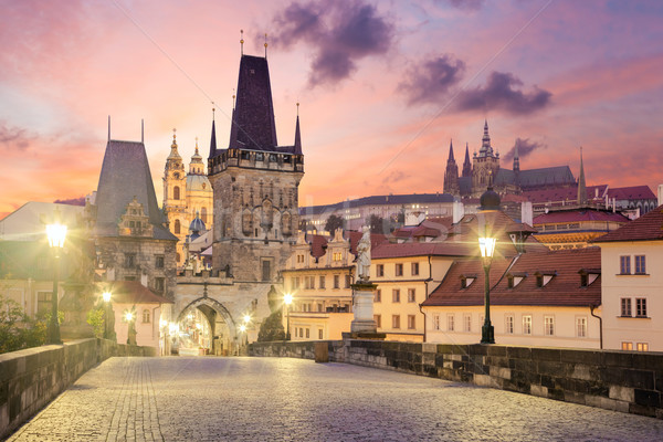 Charles Bridge in Prague at sunrise, Czech, Europe Stock photo © Taiga
