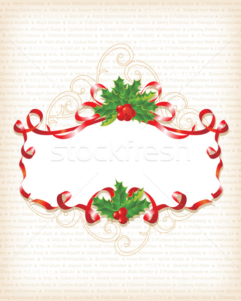 Christmas Holly Banner Background with text on 30 different lang Stock photo © Taiga