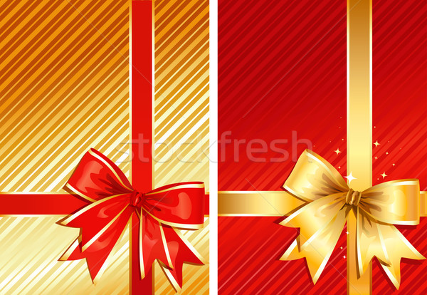 Golden Ribbon & Red Ribbon / two gifts / vector Stock photo © Taiga