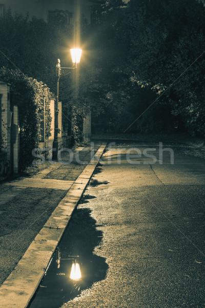 éjszakai jelenet eső lámpás fények pocsolya öreg Stock fotó © Taiga