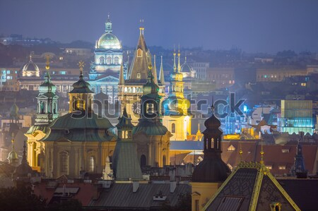 Prague, fantastic old town roofs during twilight  Stock photo © Taiga