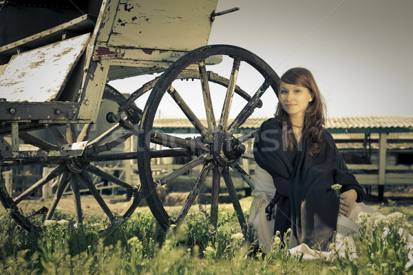 Land model portret retro bloem meisje Stockfoto © Taiga