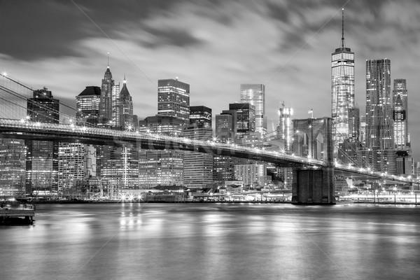 Stock photo: Manhattan and Brooklyn Bridge black and white, New York