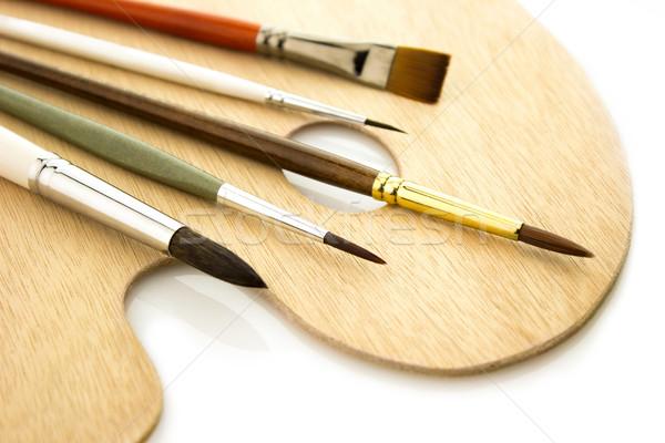 Művészet szín paletta izolált öt fából készült Stock fotó © Taiga