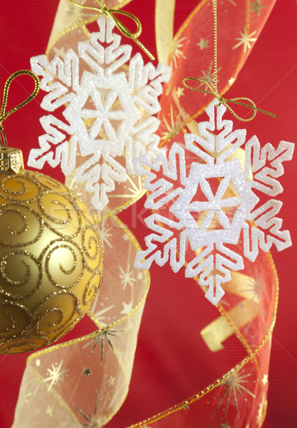 Christmas background with decorations and bow Stock photo © Taiga