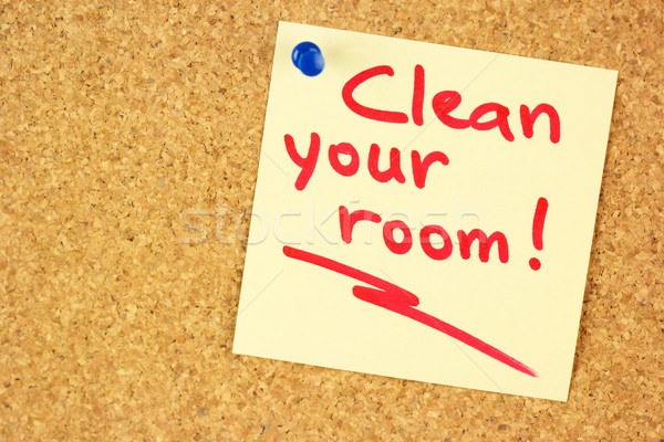 Clean your room sticker on the cork Stock photo © Taiga