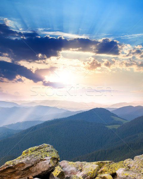 majestic Sunrise over the mountains  with sunbeams - vertical Stock photo © Taiga