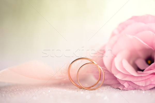 Gentle Wedding Background with Rings and Beautiful Flower, retro Stock photo © Taiga