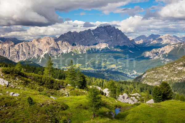 Summer Mountain Landscape with big peaks of Dolomites and trees, Stock photo © Taiga