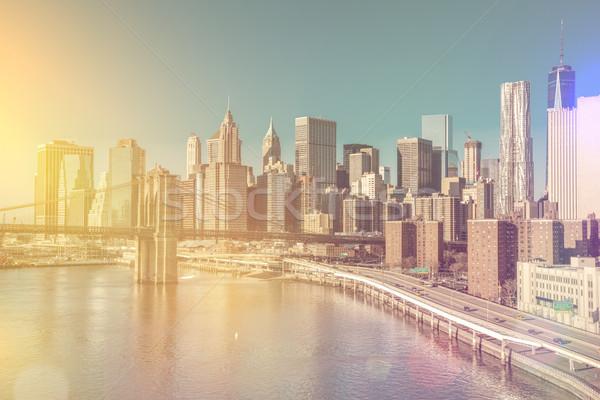Skyline centrum New York Manhattan vintage stijl Stockfoto © Taiga