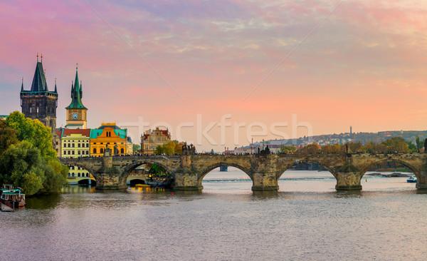Grand panorama pont Prague République tchèque Europe Photo stock © Taiga