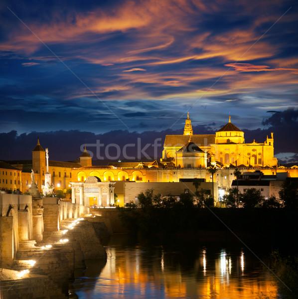 Famous Mosque (Mezquita) and  Roman Bridge at beautiful night,  Stock photo © Taiga