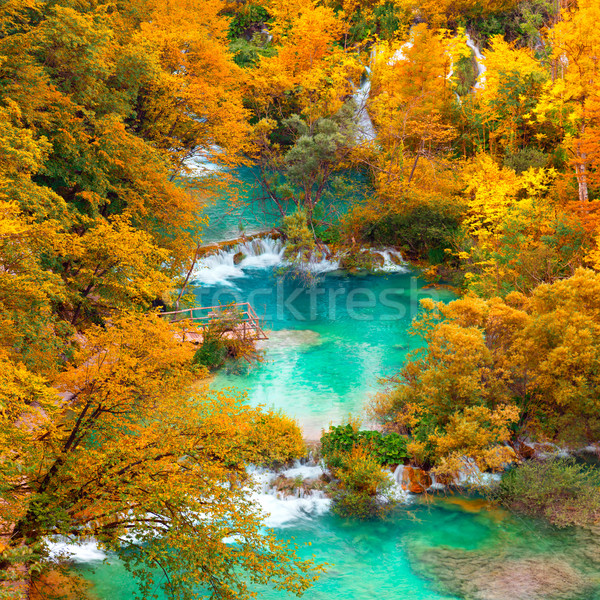 Autumn view on waterfalls and lakesl with turquoise water and g Stock photo © Taiga