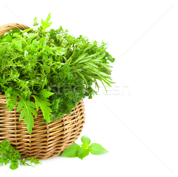 Fresh Spicy Herbs in Basket / isolated on white  Stock photo © Taiga