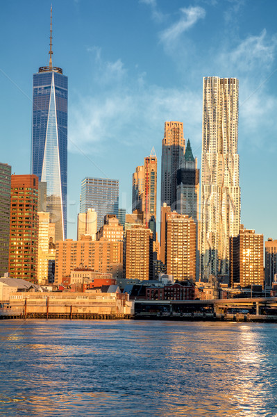 офисных зданий Manhattan реке Нью-Йорк США известный Сток-фото © Taiga