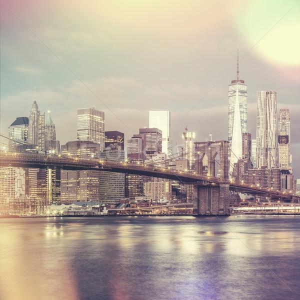 Stock photo: Vintage style view of  Brooklyn Bridge and Manhattan skyline, Ne