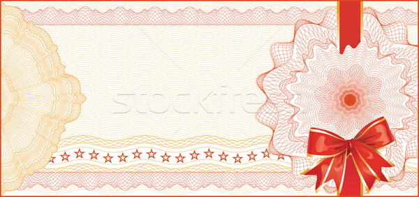 Guilloche Background for Gift Certificate with Red Bow Stock photo © Taiga