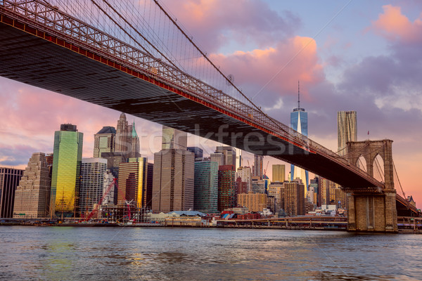 Stock photo: Sunrise colors of Brooklyn Bridge and Manhattan in New York City