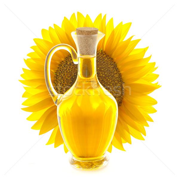 Garrafa óleo de girassol girassol ver isolado branco Foto stock © Taiga