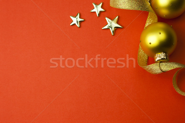background with stars, ribbon and bauble Stock photo © Taiga