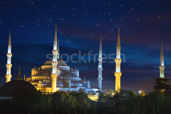 Blue Sultanahmet Mosque at night time with fantastic sky and sta Stock photo © Taiga