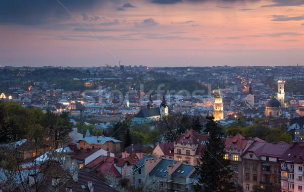 Panoramisch luchtfoto oude binnenstad zonsondergang Oekraïne Europa Stockfoto © Taiga