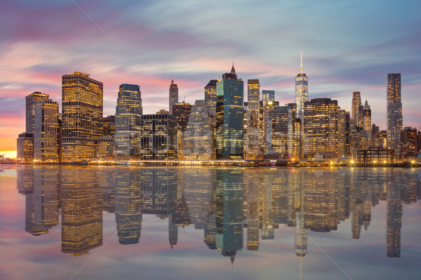 New York City - Manhattan skylines at evening time with reflecti Stock photo © Taiga