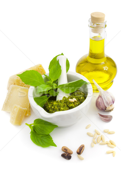 Fresh Italian Pesto and its ingredients / isolated on white Stock photo © Taiga