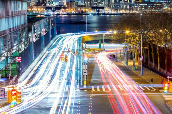 Fény elfoglalt éjszaka utcák útkereszteződés nagy Stock fotó © Taiga