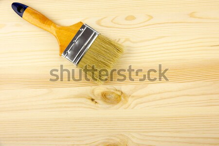 Wood texture, human hand and paintbrush / housework background Stock photo © Taiga