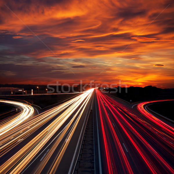 Speed Traffic at Sundown Time - light trails on motorway highway Stock photo © Taiga