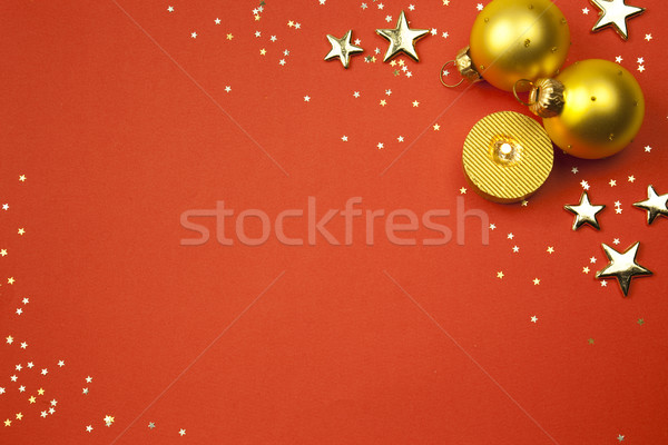 christmas holiday background with stars, balls  and candle Stock photo © Taiga