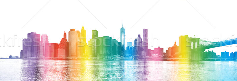 New York City silhouette Manhattan gratte-ciel pont Photo stock © Taiga