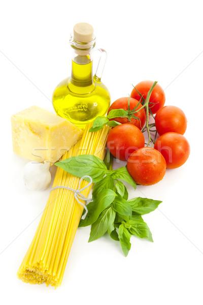 Stock fotó: Hozzávalók · olasz · főzés · olívaolaj · bazsalikom · paradicsom