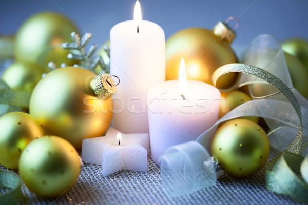 Nuit Noël décorations bougies horizontal Photo stock © Taiga