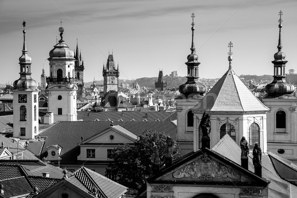 Aerial view of Prague city with rooftops, Europe Stock photo © Taiga