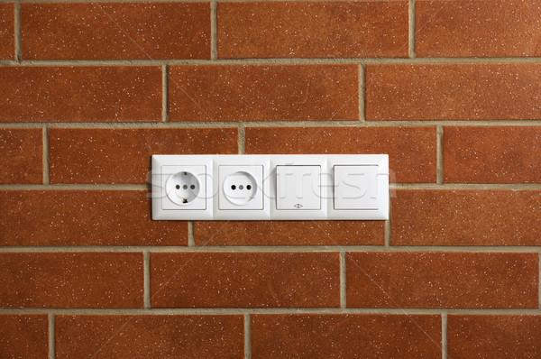 Pouvoir mur de briques horizontal photo maison bâtiment Photo stock © Taiga